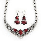 Ethnic Burn Silver Hammered, Burgundy Red Ceramic Stone Necklace With T-Bar Closure & Drop Earrings Set - 40cm Length