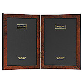 Addison Ross Marquetry Double Photo Frame with Dark Brown Poplar Fibre Back - 5 in x 7 in