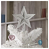 Tesco Silver Glitter Tree Topper, Blue & Green