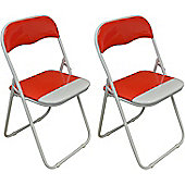 Harbour Housewares Red / White Padded, Folding, Desk Chair - Pack of 2