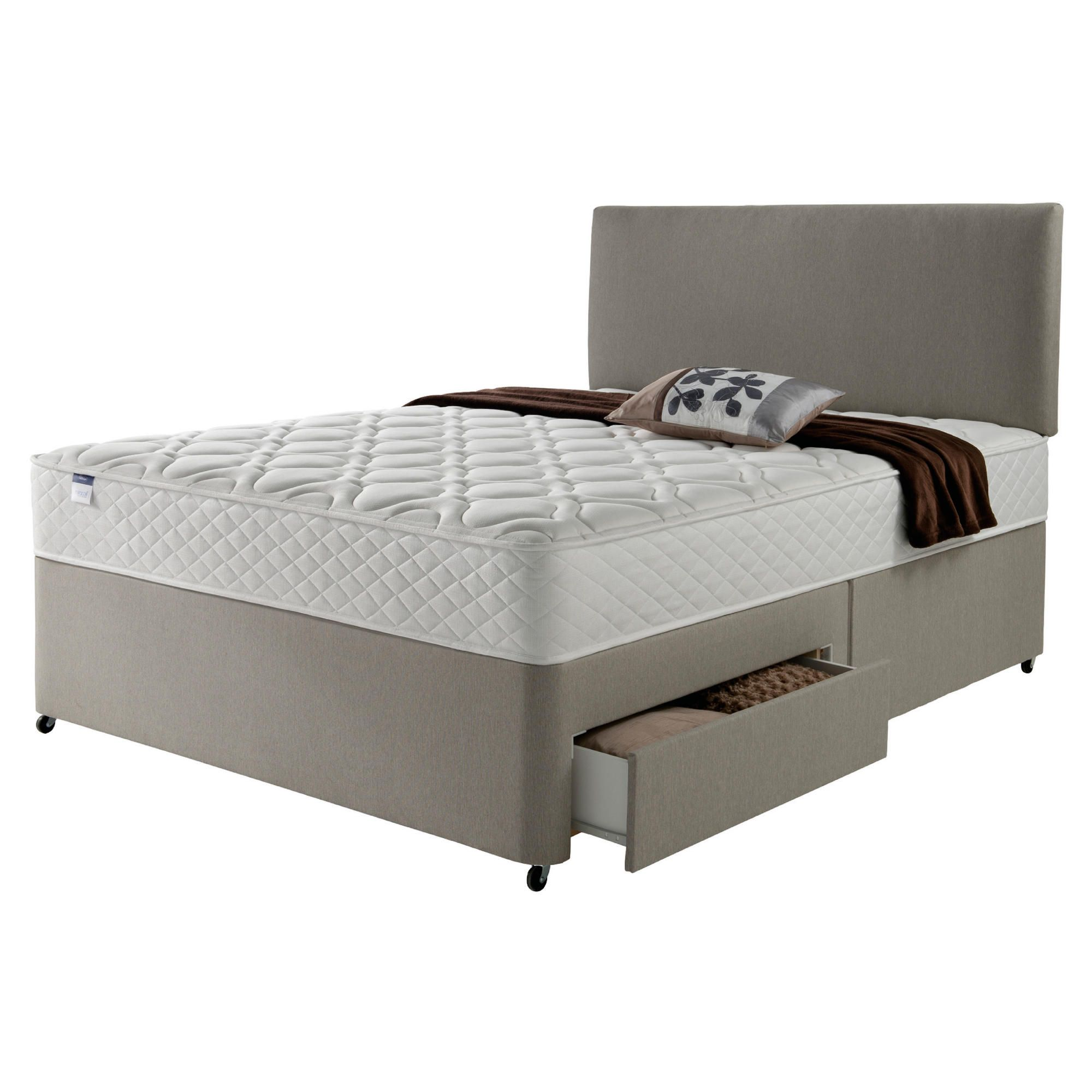 Silentnight Miracoil Luxury Micro Quilt 2 Drawer Super King Divan Mink with Headboard at Tesco Direct