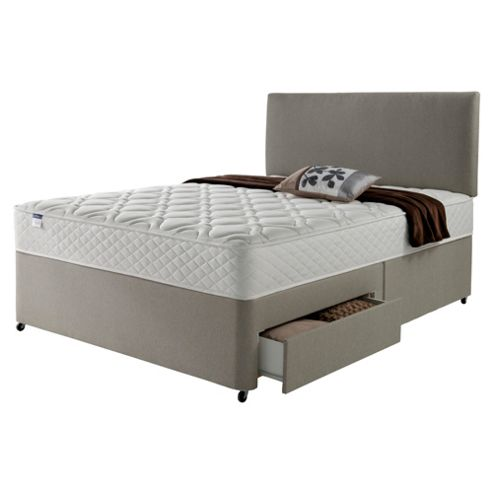 Silentnight Miracoil Luxury Micro Quilt 2 Drawer Super King Divan Mink with Headboard