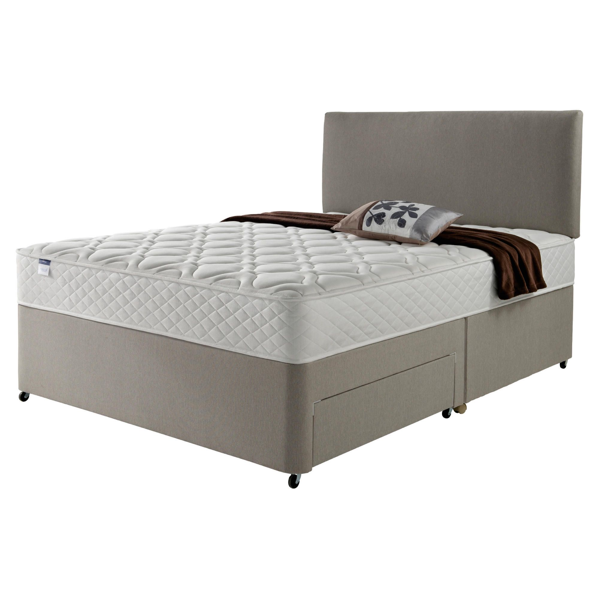 Silentnight Miracoil Luxury Micro Quilt Non Storage Super King Divan Mink with Headboard at Tesco Direct