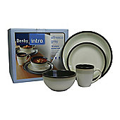 Denby Intro 4 Person, 16 Piece Dinner Set, Grey