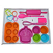 14 pc Kid's Silicone Bakeware Set for Girls and Boys Age 3+ Pink