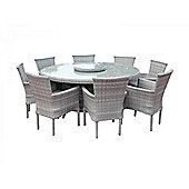 Cambridge 8 Stackable Chairs and Large Round Dining Table with Lazy Susan Set in Grey