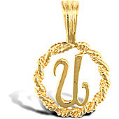 Jewelco London 9ct Gold Rope Initial ID Personal Pendant, Letter U - 0.9g
