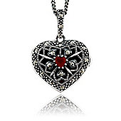 Gemondo Sterling Silver 9pt Cornelian & Marcasite Heart Locket 45cm Necklace