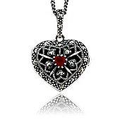 Gemondo Sterling Silver 9pt Cornelian & Marcasite Heart Locket 45cm Necklace