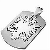Urban Male Men's Two Part Modern Eagle Crest Dog Tag Pendant In Stainless Steel