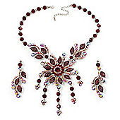 Luxury Ruby Red Swarovski Floral Necklace & Earrings Set (Silver Tone)