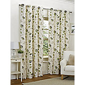 Amelia Ready Made Curtains Pair, 66 x 72 Green Colour, Modern Designer Look Eyelet curtains