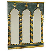 Papa Theo Triple Venice Mirror - Antique Gold / Green