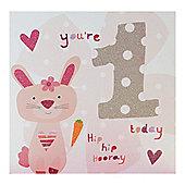 Pink Fizz Girls 1st Birthday Card