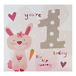 Pink Fizz Girls 1st Birthday Card
