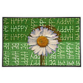 Wash & Dry by Kleen-Tex Be Happy Flat Bordered Rug - 50cmx75cm