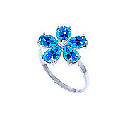QP Jewellers Diamond & Blue Topaz Foliole Ring in 14K White Gold