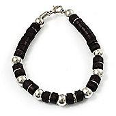 Unisex Black Resin & Silver Tone Metal Bead Bracelet - 17cm Length