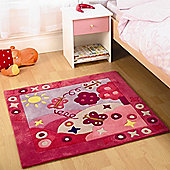 Rugs with Flair Kiddy Play Summertime Girl Kids Rug - Square 90cm