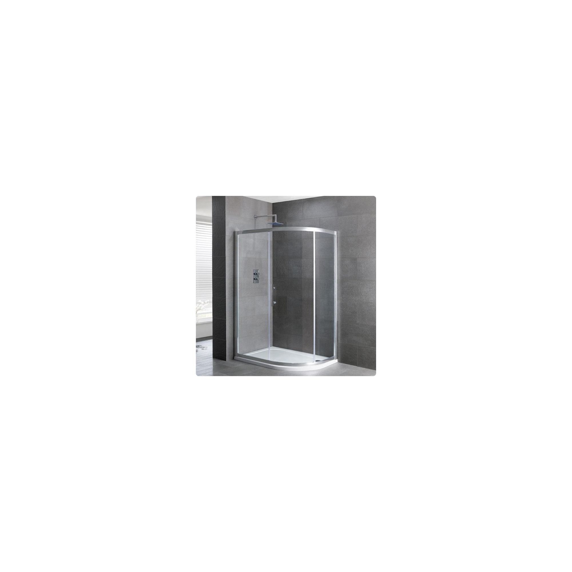Duchy Select Silver 1 Door Offset Quadrant Shower Enclosure 1200mm x 800mm, Standard Tray, 6mm Glass at Tescos Direct