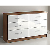 Birlea Lynx Six Drawer Chest - White and Walnut