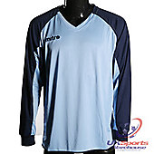 Mitre Aren DryCool Long Sleeved Football Shirt Jersey Blue/Navy - Navy & sky blue