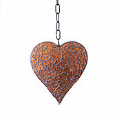 Hanging Copper Coloured Mosaic Heart Ornament For The Garden Or Home