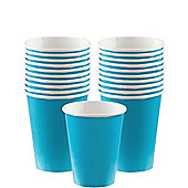 Caribbean Turquoise Paper Cups - 266ml Paper Party Cups, Pack of 20