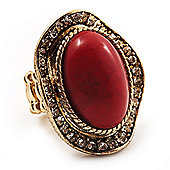 Oval Crystal Coral Style Flex Ring (Gold Tone Metal) Size - 7/9
