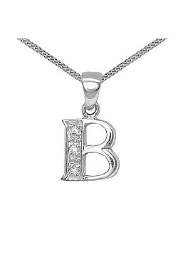 Jewelco London 9 Carat White Gold Elegant Diamond-Set Pendant on an 18 inch Pendant Chain Necklace - Inital B