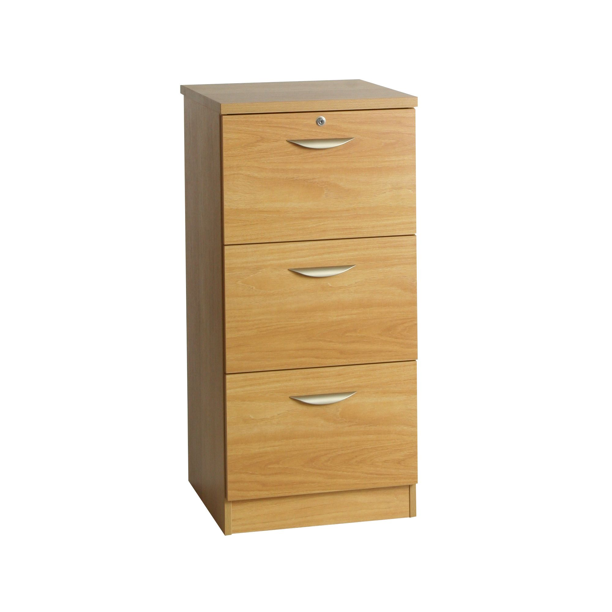 Enduro Three Drawer Tall Wooden Filing Cabinet - Teak at Tesco Direct