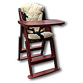 Safetots Folding Wooden Highchair Red with Cream Cushion