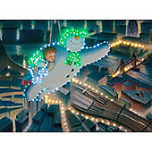 The Snowman, Billy & Snowdog Fly over The City Illuminated Canvas