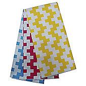 Tesco Retro Pixel Lemon Blue & Pink  Tea Towel 3 Pack