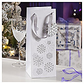 Silver Snowflake Christmas Bottle Bag