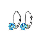 QP Jewellers 1.20ct Blue Topaz Leverback Earrings in Sterling Silver