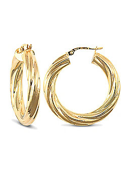 Jewelco London 9ct Yellow Gold 5mm round-tube Twisted hoop Earrings
