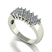 18ct White Gold 14 Stone Moissanite 2 Row Ring