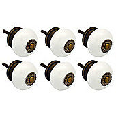 Ceramic Cupboard Drawer Knobs - White - Pack Of 6