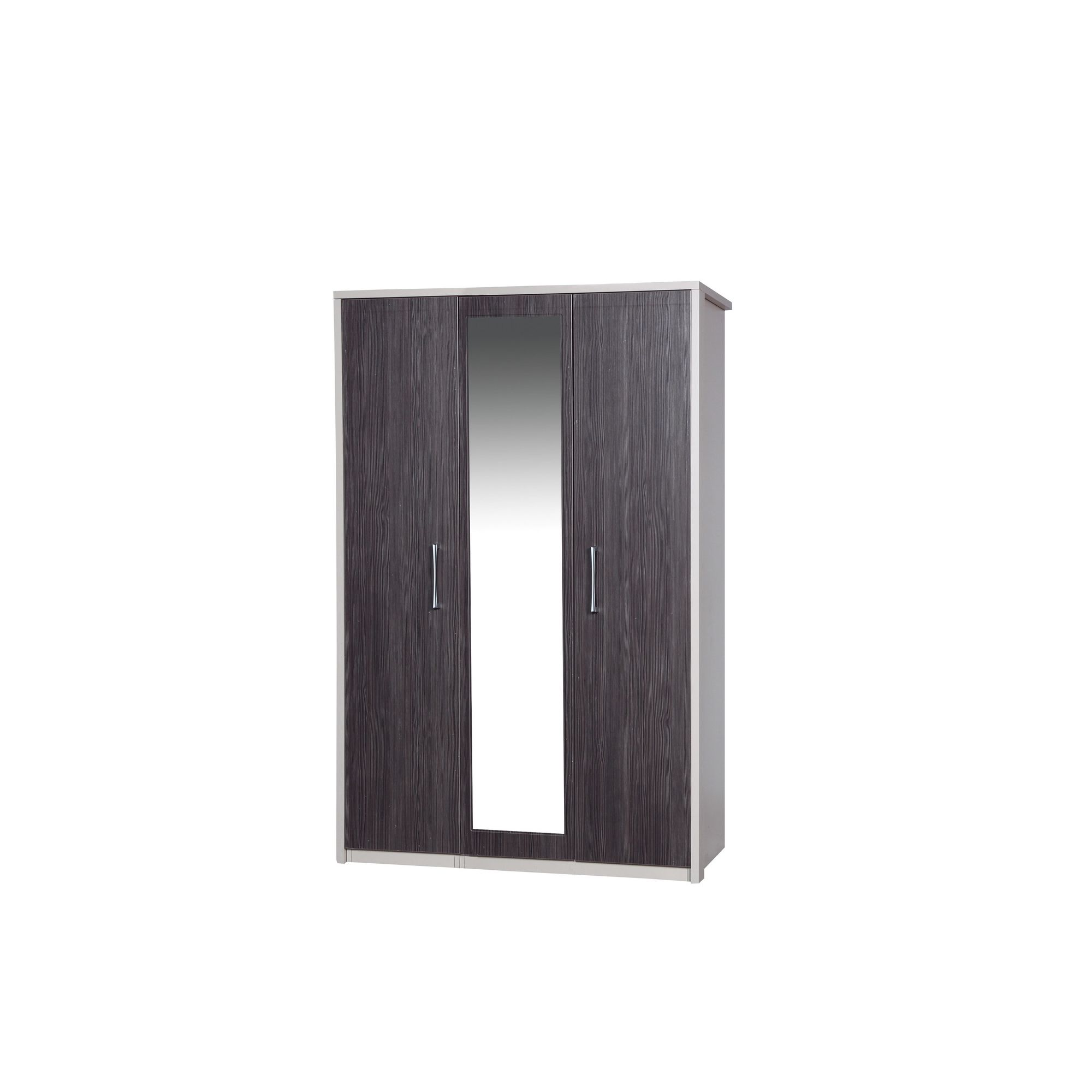Alto Furniture Avola 3 Door Wardrobe with Mirror - Cream Carcass With Grey Avola at Tesco Direct