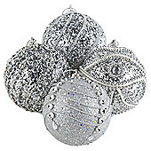 Silver Tree Christmas Baubles, 12 pack