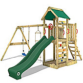 Wooden climbing Frame Multiflyer With Green Slide