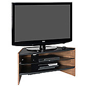 Rvia Curved Walnut AV Stand for Up To 42 TV with Black Glass Shelves