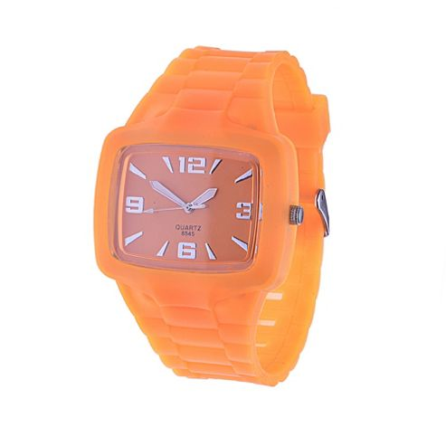 Urban Male Men's Orange Rubber Wrist Watch Quartz Movement in orange