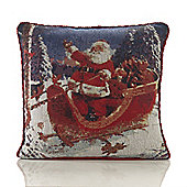 Christmas Sleigh Tapestry Cushion - 46x46cm