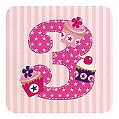 Little Stars Girls 3rd Birthday Card