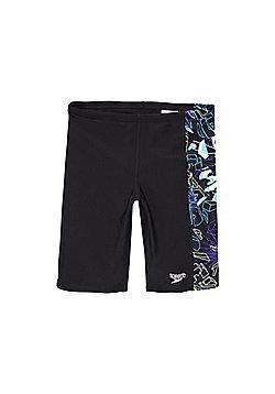 Speedo Endurance®10 Graphic Print Long Line Swim Shorts - Black