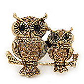 Burn Gold Light Amber Crystal 'Double Owl' Double Finger Ring - Adjustbable - 4.5cm Length
