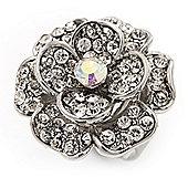 Large Layered Diamante 'Daisy' Ring In Rhodium Plating (Adjustable) - 2.5cm Diameter