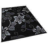 Oriental Carpets & Rugs Modena Black/Grey Budget Rug - 115 cm x 170 cm (3 ft 9 in x 5 ft 7 in)